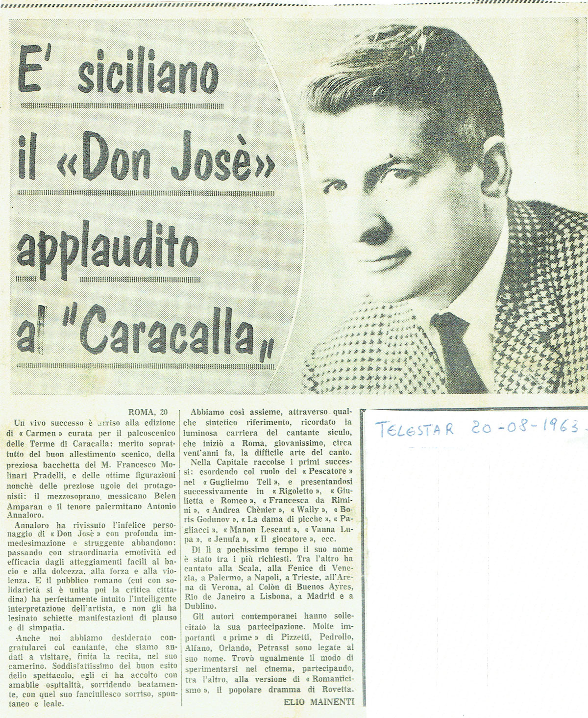 è siciliano il Don José applaudito a Caracalla da un quotidiano del 1963